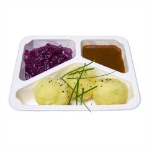 3 Klöße mit Kirschrotkohl und Bratensoße (vegetarisch)